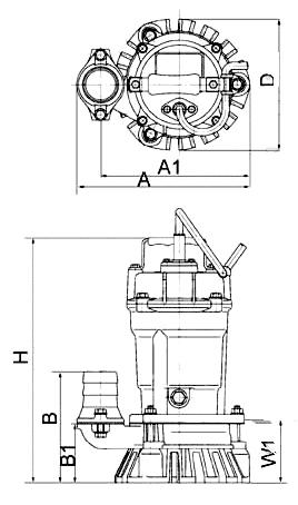 Однофазные дренажные насосы Tsurumi HS - схема